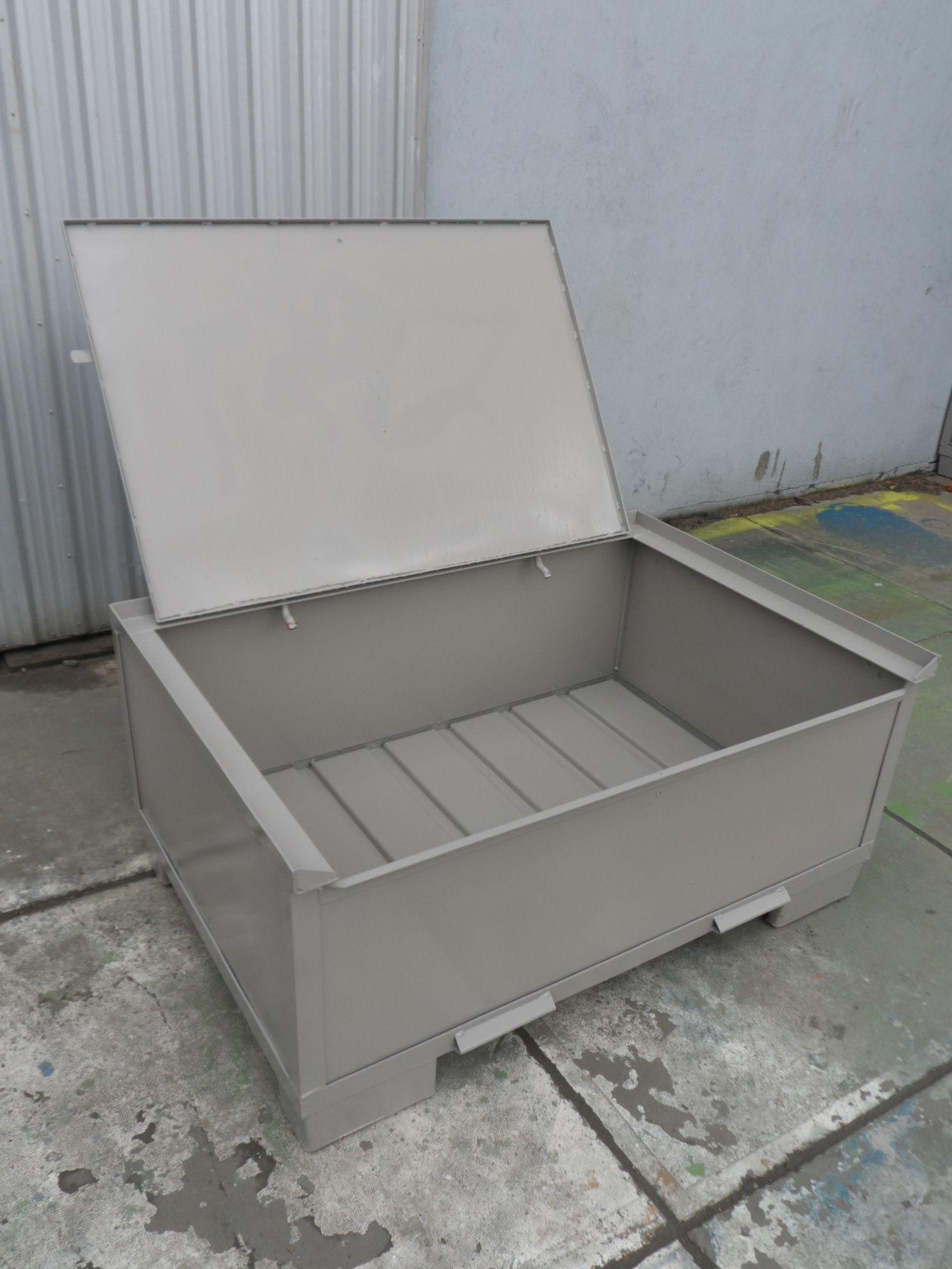 Set - Stahlbehälter H57-MS3 + Stahldeckel, neu-0